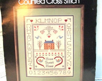 Vintage Counted Cross Stitch Sampler Kit Original Package by Golden Bee Stitchery, Home Sweet Home Embroidery Needlwork Project Wedding Gift