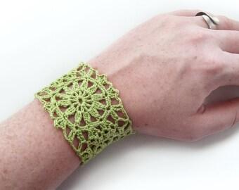 Lime Green Cuff Bracelet, Flower Motif - Crochet Lace, Egyptian Cotton - Spring Summer Fashion Granny Square Hippie Boho