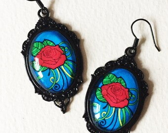 Red Rose Earrings, Rockabilly Tattoo Glass Cameo Earrings, Alternative Jewelry, Rose Tattoo, Gift For Her