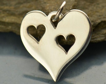 Sterling Silver Heart with Two Heart Cutouts