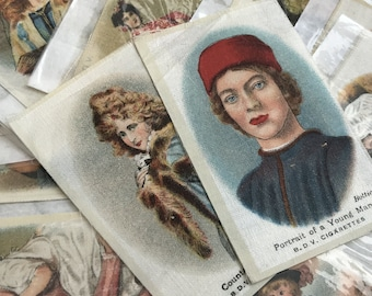Old masters, collection of 17 beautiful vintage silk cigarette cards. 1920s.