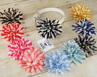 Striped Flower, Dog Collar Flower, Collar Accessory, (Collar not included), Flower, Prop, Pet Collar Accessory, Focus for a Cause