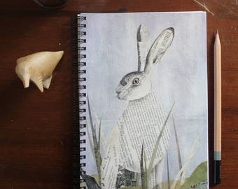 Woodland Collage Series - Hare - A5 Spiral Lined Notebook