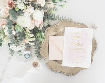 REBECCA SUITE || wedding invitation, rsvp, simple watercolour, faux gold foil