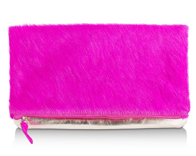 Leather Clutch Bag in Fuchsia Hair on Hide/ Metallic Gold
