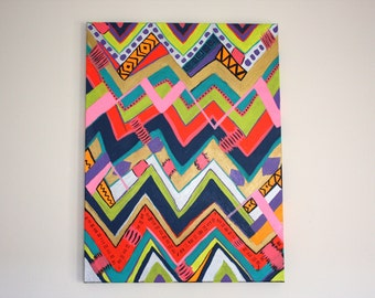Tribal Chevron Painting, Colorful Abstract Art by Jessica Feeney