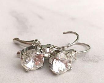 Simple crystal earrings - crystal drop earrings - diamond drop earrings - bridesmaid earrings - bridesmaid gift - bridal earrings