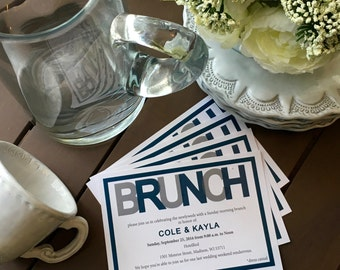 Wedding Brunch Invitation 5x7 -  flat card, 24 invitations
