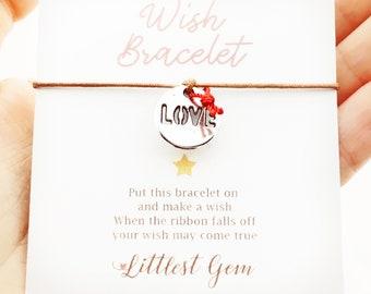 Bracelet Love de pièce de monnaie souhait, Bracelets pour femmes, bijoux de souhait, meilleur ami cadeau, souhait ruban Bracelet, Bracelet d'amitié