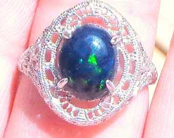SALE,Solid 10k White Gold,Victorian Design Ring,Ethiopian Welo Black Opal Ring,Color Play Stone, Blue, Green, Red Fire, New Filigree Setting