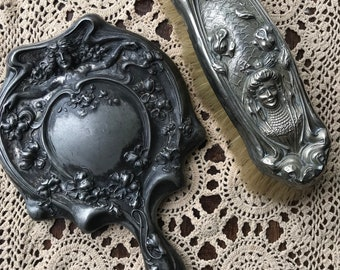 Set of two Victorian brush and mirror
