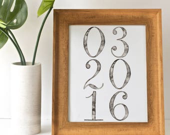 Special Date Print | Hand Lettered Print | Watercolor Print | Simple Home Decor | Wedding gift | Anniversary gift