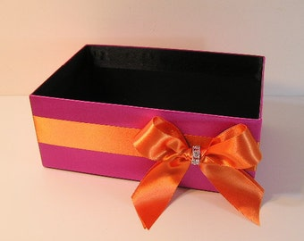 Wedding  Program Box Pink and Orange Amenities Box Bathroom Accessories Box handkerchiefs Box - Customize your color