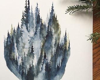 Dans le brouillard-aquarelle Art Print - pins, forêt, mousse, olive, brouillard, montagne, soirée, limite des arbres, la nature, bois du Nord