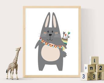 Kids Rabbit print, Nursery wall art, Kids printable art, Woodland print, Tribal print, Rabbit print, Babys room prints, Nursery decor
