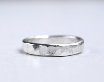 Silver Hammered stack ring sterling wedding rings Rustic Wedding Textured ring Stacking ring simple silver rustic style Hammered