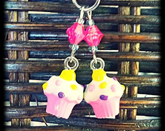 Hearing Aid Charms : Cute Cupcakes!  Available in matching Mother Daughter Set (peirced or clip ons)!