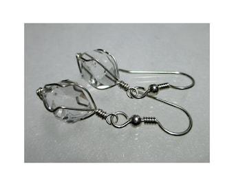 """ww1289 - 1/2"""" Wirewrap HERKIMER DIAMOND EARRINGS - Argentium Sterling Silver"""