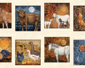"Bountiful Farm Animal Cow Rooster Blocks Quilting Treasures Fabric 24"" Panel"