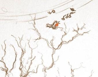 Kunstdruck einer Bleistift-Zeichnung, Sepia-Farbvariante  - Fast Frühling...! (21 x 30 cm)