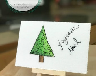 Fabric Postcard - 'Joyeaux Noel' ‖Thread Sketch ‖Christmas Card ‖ Hand painted Card ‖Quilted Card ‖Swirls ‖ Christmas Tree ‖ Watercolor Card
