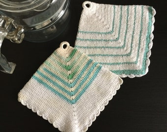 Vintage 1940s 50s Crocheted Pot Holders, Set of Two White Turquoise Mint Green Square Hand Made Hanging, Retro Mid Century Kitchenware