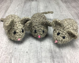 Cat toy | 3pc Crochet mouse with organic catnip | 100% wool in and out | Mouse cat toy | Catnip cat toy | Rat cat toy | Wool mouse cat toy