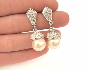 Gorgeous Vintage Pave Faux Pearl Dangle Drop Earrings // Wedding Earrings // Bridal Jewelry