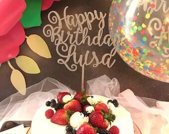 Happy Birthday Cake Topper - Custom Name Cake Topper - Happy Birthday Cake Topper