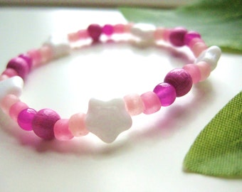 SALE: Girls Bracelet Pink and White with Stars, Beaded, Small, GBS 119