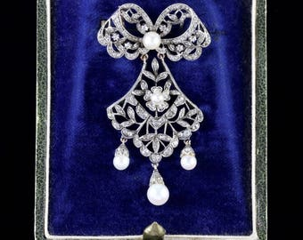 Antique French Victorian Boxed Belle Epoque Brooch Circa 1900