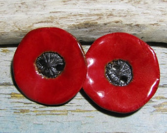 buttons 2 ceramic red poppy design