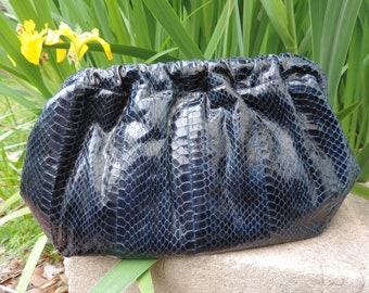 navy snakeskin purse 80s j. renee leather pouch snake clutch bag