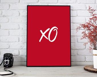 Printable art XO, art print XO, art wall, digital print XO