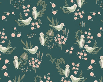 Hello, Ollie by Art Gallery Fabrics - Feathered Fellow Lush - Organic Cotton Woven Fabric