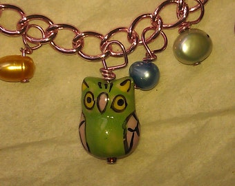 Reserved for Stephanie, Chainmaille Bracelet,Freshwater Pearls, Cute Little Owls, Suspended on a Matching Pink Chain, Vibrant Colors