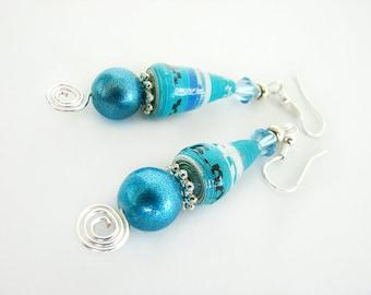 Long Turquoise Paper Bead Earrings, Paper Bead Earrings, Paper Jewelry, Dangle Earrings, Drop Earrings, Aqua Earrings, Paper Earrings