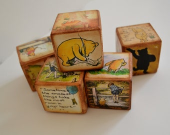 Classic Winnie the Pooh, Winnie the Pooh Quotes, Vintage Wooden Baby Blocks, Winnie Pooh Personalized Custom Blocks, Disney's Name Signs