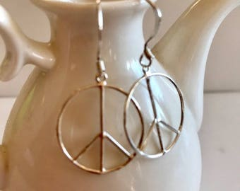 Sterling Silver Earrings-Peace Symbol Earrings