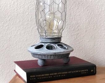 Vintage Chicken Feeder Lamp
