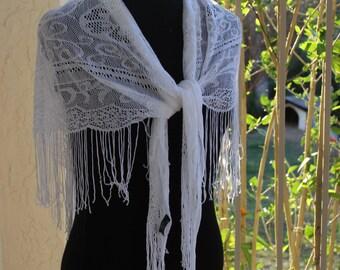 Vintage Lace Shawl Triangle Wrap