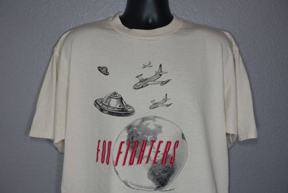 1995 RARE Foo Fighters - Roswell Records UFO Vintage Concert T-Shirt