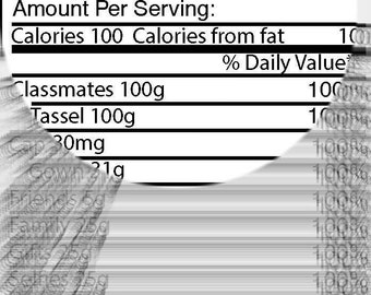 Graduation Nutrition Facts Label