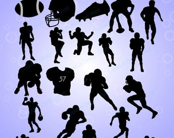 10B+10W football / football silhouette / High Quality /digital clipart / EPS / SVG /football players silhouette / game PNg file / DXF file