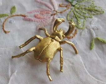1 PC Large Brass Scarab / Stag Beetle Stamping / Dimensional - S0401