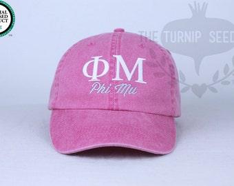 Phi Mu Sorority Baseball Cap - Custom Color Hat and Embroidery.