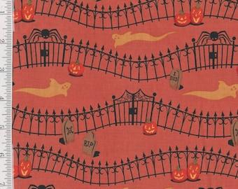 Haunted Hill - Per Yd - Clothworks - Halloween Blender - Orange
