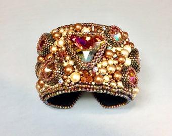 Swarovski Bracelet - Nothing But Swarovski Cuff -  Swarovski Pearl and Rivoli Bracelet -  Swarovski Pearl and Crystal Beaded Bracelet