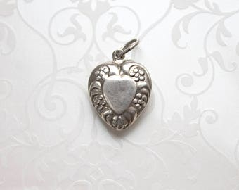 Vintage Sterling Repousse Puffy Heart Charm, heart shape sterling charm, vintage Valentine's Day, 1940s puffy heart charm