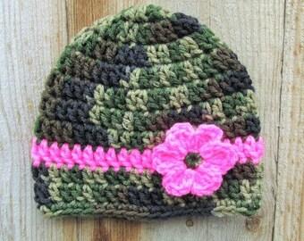 Baby Girl Camo Hat, Pink Camo Flower Beanie, Crochet Newborn Hat, Baby Girl Military, Baby Photo Prop, Camo Flower, Army Beanie, Skull Cap